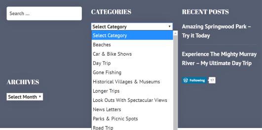 ROAD TRIP'N Categories